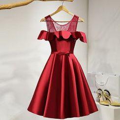 皇家尚品 - 飾蕾絲皺摺邊禮服裙