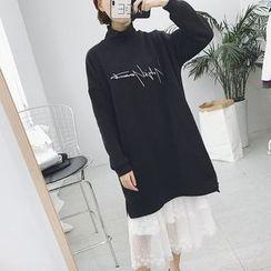 Eva Fashion - Set: Lettering Long-Sleeve Dress + Sleeveless Lace Midi Dress