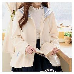 Sechuna - Sailor-Collar Contrast-Trim Jacket