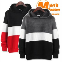 WIZIKOREA - Color-Block Embossed Hooded Pullover