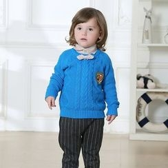 KUBEBI - Kids Set: Ribbed Knit Top + Shirt + Pants