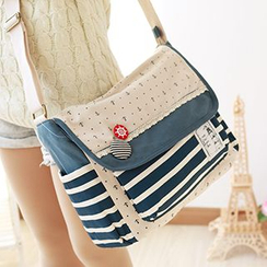 Canvas Love - Striped & Anchor Print Messenger Bag