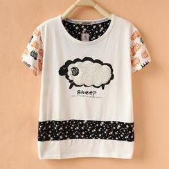 Cute Colors - Short-Sleeve Printed Panel T-Shirt