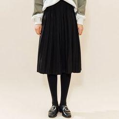 Heynew - Plain Pleated Midi Skirt
