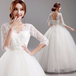 Angel Bridal - Lace Panel Ball Gown Wedding Dress