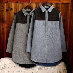 tete - 長袖拼接條紋襯衫