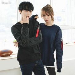 TOMONARI - Couple Zip-Pocket Padded-Sleeve Sweatshirt