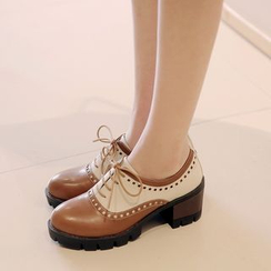 JY Shoes - Two-Tone Chunky Heel Lace-Up Shoes