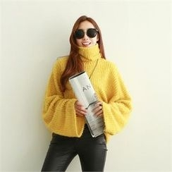 PIPPIN - Turtle-Neck Wide-Sleeve Knit Top