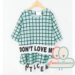 JVL - Set: Lettering Plaid T-Shirt + Skirt