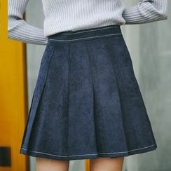 TREEZIN - Corduroy Pleated A-Line Skirt