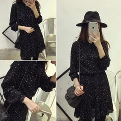 QZ Lady - Tie-Neck Long-Sleeved Dotted Dress