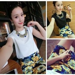 QZ Lady - Set: Cap-Sleeved Top + Floral Print Skirt