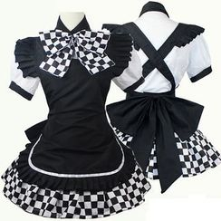 Cosgirl - Gingham Maid Cosplay Costume