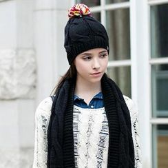 真享 - 球球装饰麻花针织帽