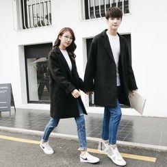 Simpair - Couple Matching Notch Lapel Long Woolen Coat