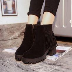 One100 - Chunky-Heel Platform Fringe-Trim Short Boots