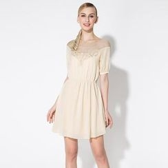 O.SA - Short-Sleeve Tulle-Panel Embroidered Dress