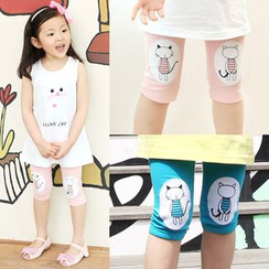 Seashells Kids - Kids Cat Knee Patch Capri Leggings