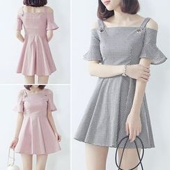 Bloombloom - Off-shoulder Strap Bell-Sleeve Dress