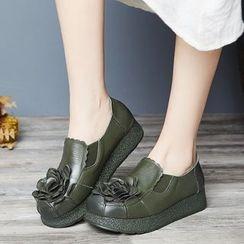 LARKSPUR - Flower Genuine Leather Platform Loafers