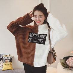 AyAN - Lettering Applique Color Panel Turtleneck Chunky Sweater