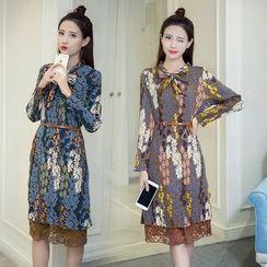 Sienne - Floral Print Mock Two-Piece Chiffon Dress