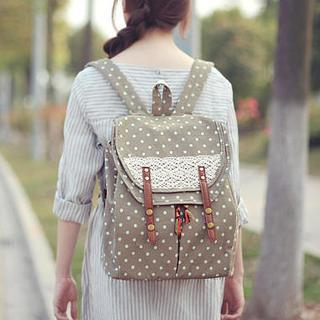 SUPER LOVER - Crochet-Trim Polka Dot Flap Backpack