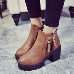 Laceuplux - Chunky Heel Platform Ankle Boots