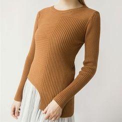 Honey House - Asymmetric Hem Long Sleeve Rib Knit Top