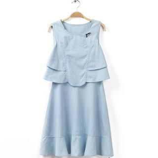 JVL - Mock Two Piece Ruffle-Hem Denim Dress