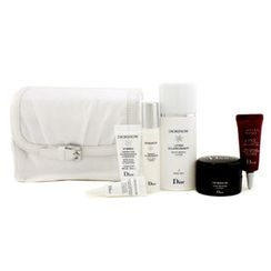 Christian Dior - Diorsnow Travel Set: Lotion + Essence + D-NA Night Creme + UV Shield + Eye Treatment + One Essential Serum + Bag (White)