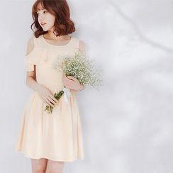 Tokyo Fashion - Cutout Shoulder A-Line Dress