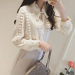 Jolly Club - Open Knit Tie-Neck Frilled Blouse