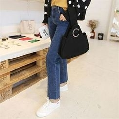 QNIGIRLS - Slit-Hem Straight-Cut Jeans