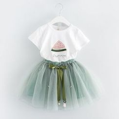 mina diva - Set of Two:  Short-Sleeve Printed Top + Tie- Wasit Bow Mesh Skirt