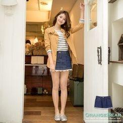 OrangeBear - Lace-Trim Denim Skirt