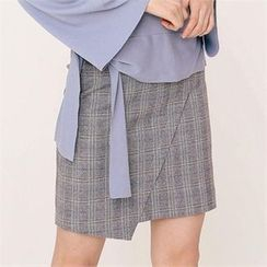 MAGJAY - Asymmetric-Hem Checked Skirt