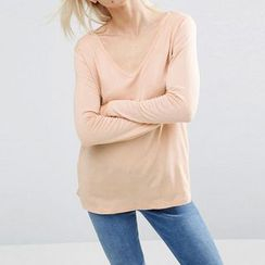 Richcoco - V-neck Long-Sleeve T-shirt