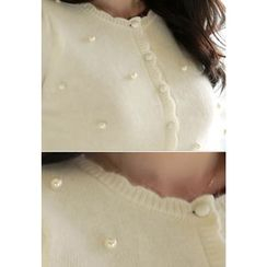 MyFiona - Crew-Neck Faux-Pearl Beaded Cardigan