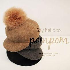 STYLEBYYAM - Detachable Pompom Accent Woolen Beret