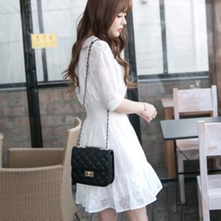 Dowisi - Retro Short-Sleeve Chiffon Dress