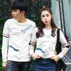 Igsoo - 情侣款印花长袖T恤