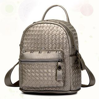 BeiBaoBao - Faux-Leather Studded Woven Backpack
