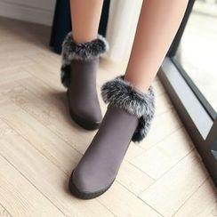 Pangmama - Platform Hidden-Heel Paneled Short Boots