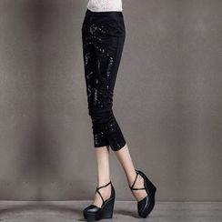 Ozipan - Beaded Sequined Slim-Fit Cropped Pants