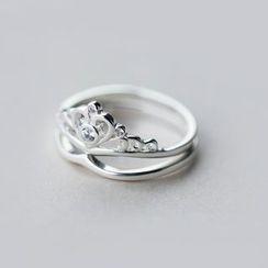 A'ROCH - 925 Sterling Silver Rhinestone Crown Ring