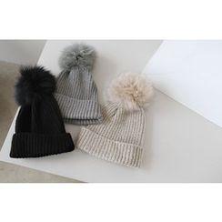 DAILY LOOK - Faux-Fur Wool Blend Beanie