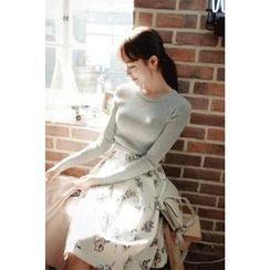 CHERRYKOKO - Shirred Flower Pattern Midi Skirt