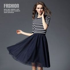 Ozipan - Short-Sleeve Paneled Striped Knit Dress